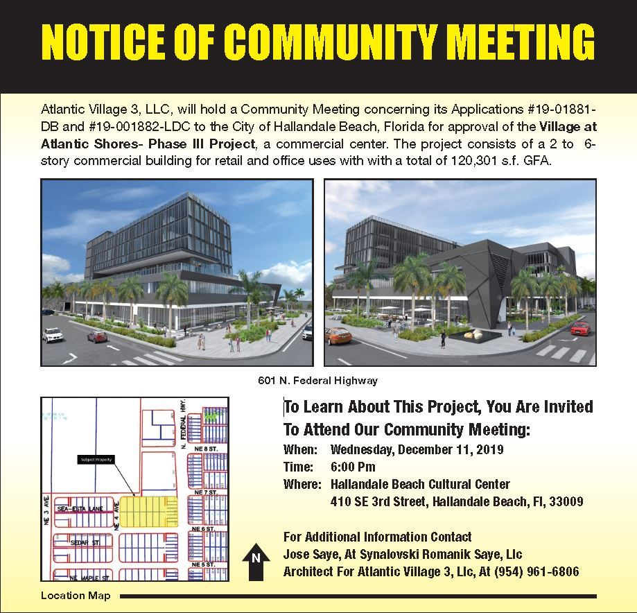 Notice of Community Village at Atlantic Shores